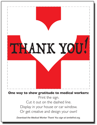 Medical worker thank you sign - color